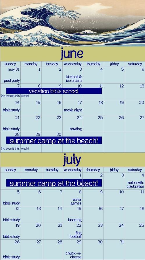 2009 summer calendar